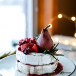 Caramelized Winter Fruit Stuffed Brie Cheese with a Pinot Poached Pear. – How Sweet It Is